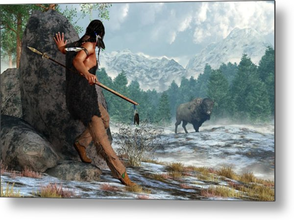 Indian Hunting With Atlatl Metal Print