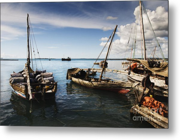 Indian Ocean Dhow At Stone Town Port Metal Print
