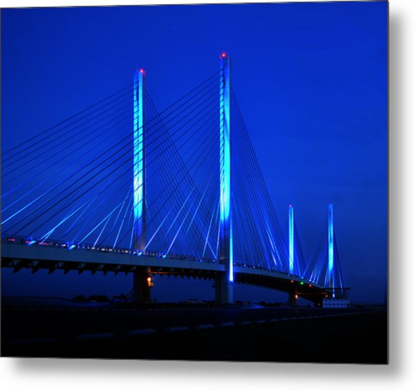 Indian River Bridge At Night Metal Print