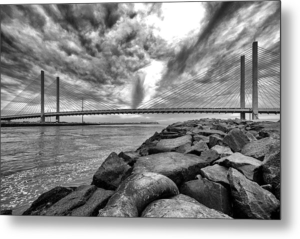 Indian River Bridge Clouds Black And White Metal Print