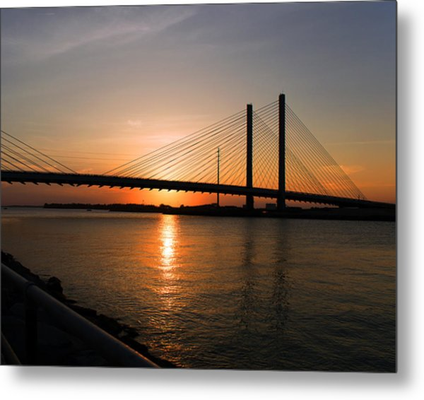 Indian River Bridge Sunset Reflections Metal Print