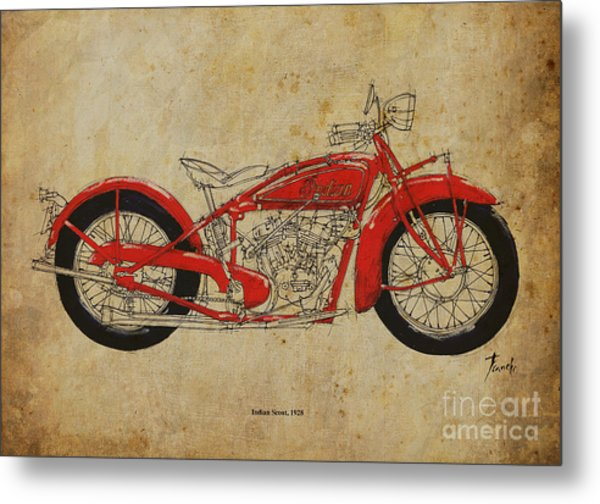 Indian Scout 1928 Metal Print by Pablo Franchi