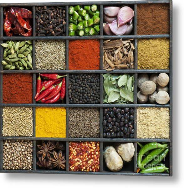 Indian Spice Grid Metal Print