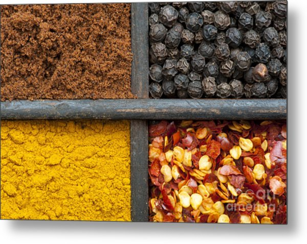 Indian Spices Pattern Metal Print