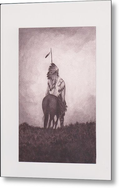 Indian Sunset Of Dying Race Metal Print by Billie Bowles