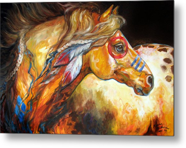 Indian War Horse Golden Sun Metal Print