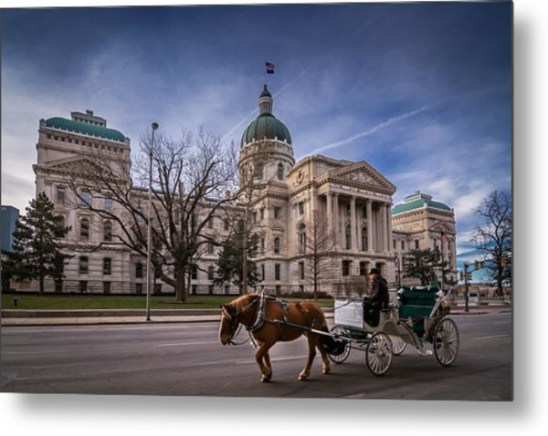 Indiana Capital Building - Front With Horse Passing Metal Print