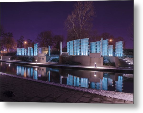 Indianapolis Canal Walk Medal Of Honor Memorial Night Lights Metal Print