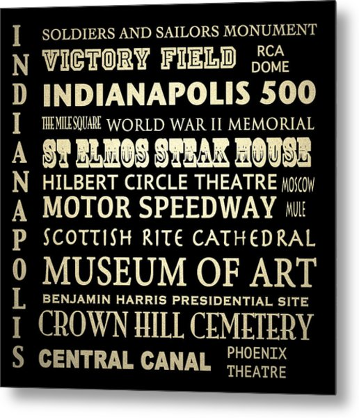 Indianapolis Famous Landmarks Metal Print