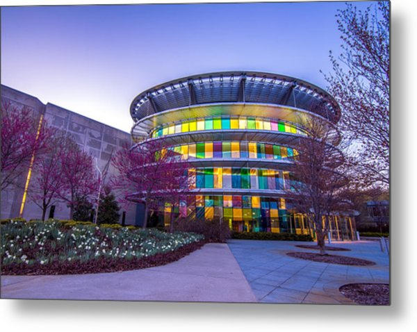 Indianapolis Museum Of Art Blue Hour Lights Metal Print
