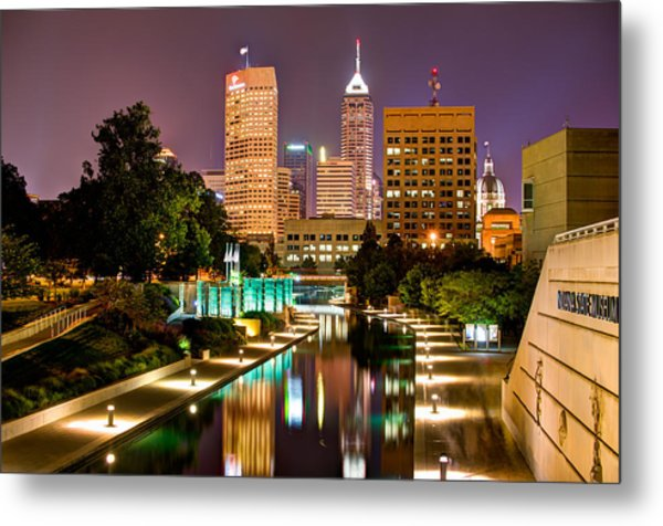 Metal Print featuring the photograph Indianapolis Skyline - Canal Walk Bridge View by Gregory Ballos
