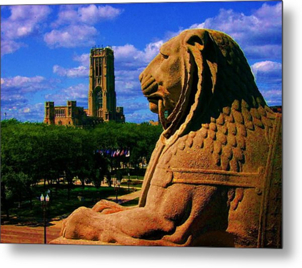 Indianapolis War Memorial Lion Metal Print