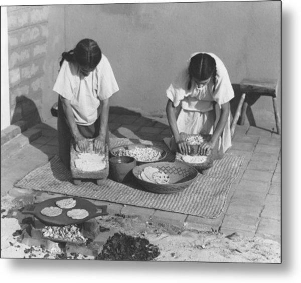 Indians Making Tortillas Metal Print