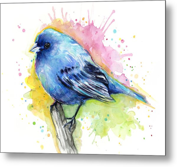 Indigo Bunting Blue Bird Watercolor Metal Print