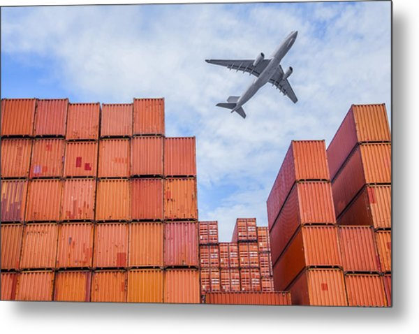 Industrial Port With Containers Metal Print