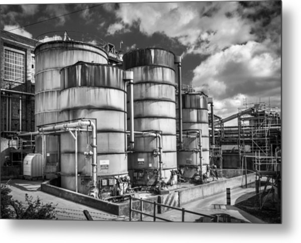 Industrial Silos. Metal Print by Gary Gillette