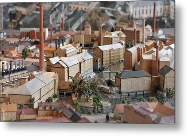 Industrial Town Miniature Model Metal Print
