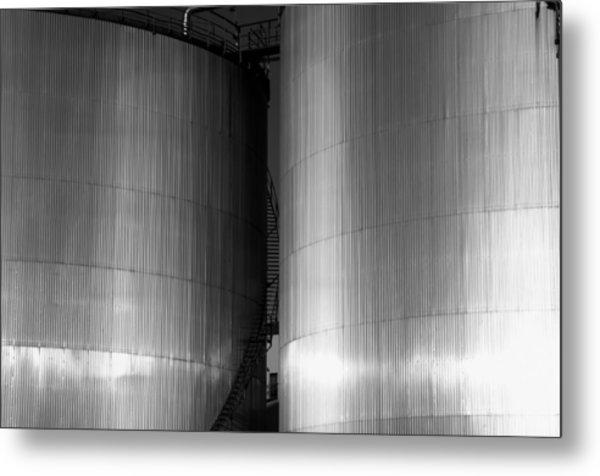 Industry Fuel Tanks At Sunset Metal Print