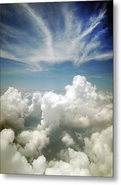 Inflight Sky Shot Of The Cotton-like Metal Print by Melindachan
