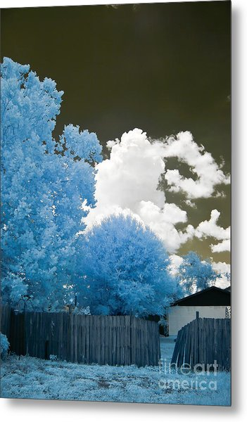 Infrared Broken Fence Metal Print