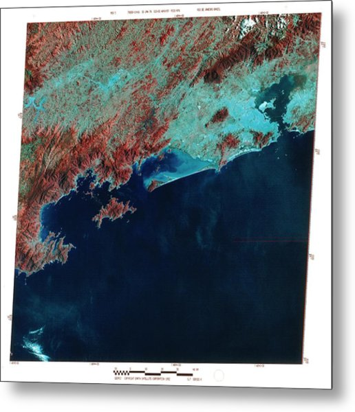 Infrared Satellite Image Of Rio De Janeiro Metal Print by Mda Information Systems/science Photo Library