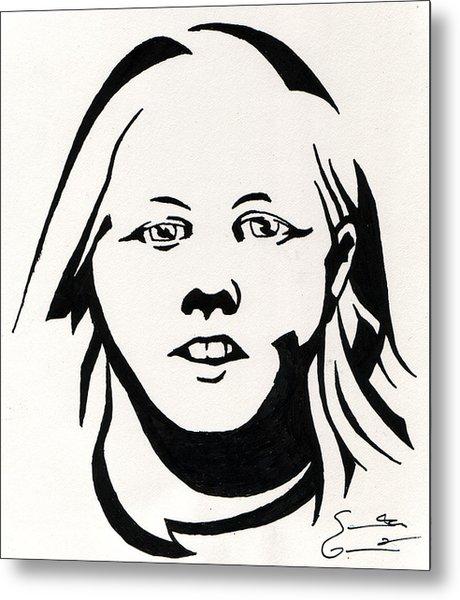 Ink Portrait Metal Print