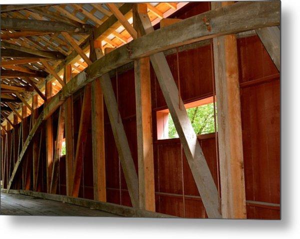 Inside A Covered Bridge 2 Metal Print