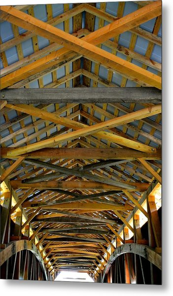 Inside A Covered Bridge 3 Metal Print
