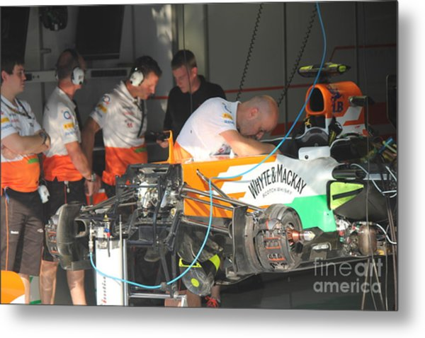 Inside The Force India Garage Metal Print