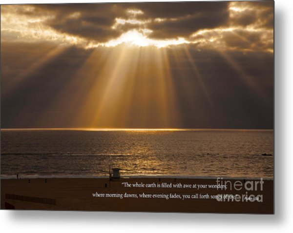 Inspirational Sun Rays Over Calm Ocean Clouds Bible Verse Photograph Metal Print