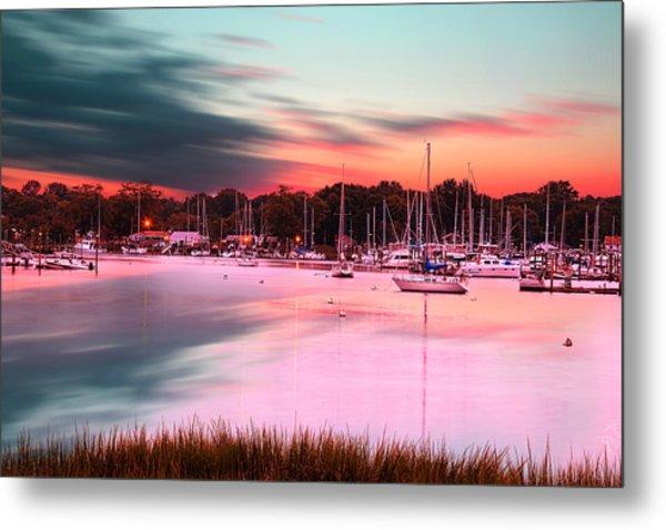 Inspiring View - Rhode Island At Dusk Warwick Neck Marina Harbor Sunset Metal Print