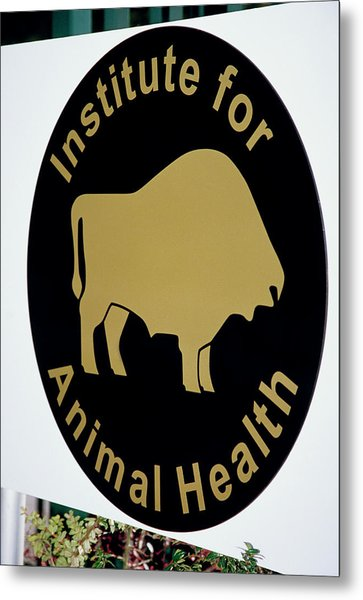 Institute For Animal Health Sign Metal Print by David Hay Jones/science Photo Library