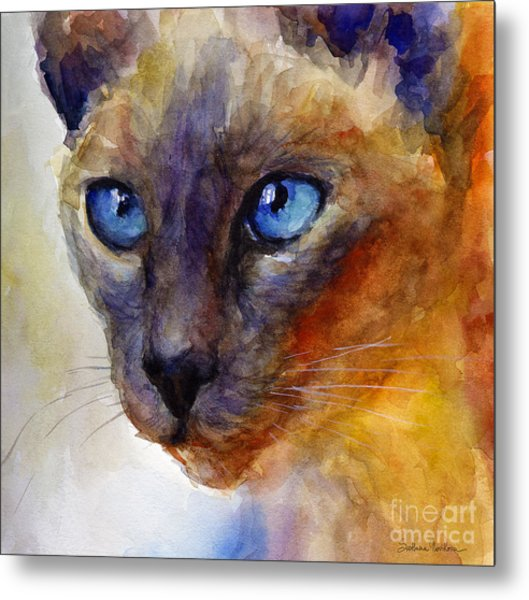 Intense Siamese Cat Painting Print 2 Metal Print