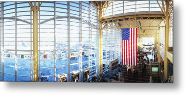 Interior Of An Airport, Ronald Reagan Metal Print