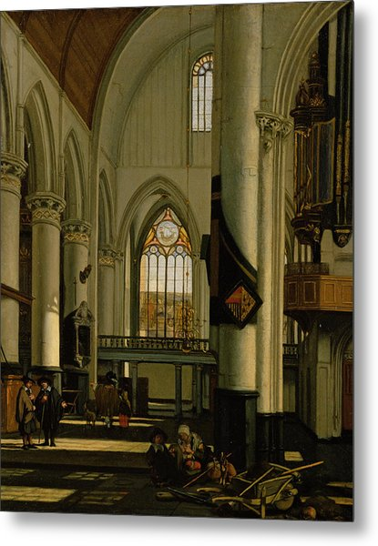 Interior Of An Imaginary Protestant Gothic Church Metal Print