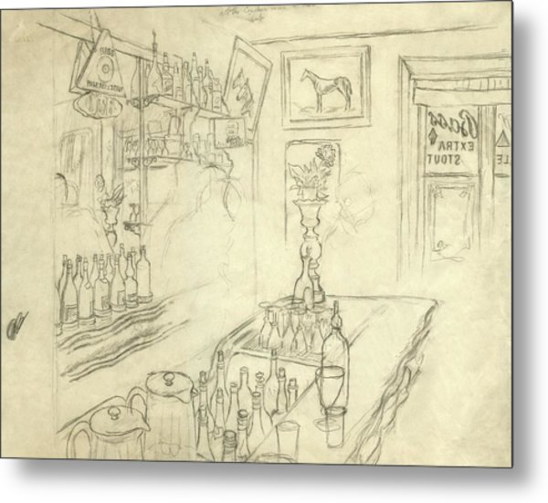 Interior Of Jack Mccann's Bar Metal Print by Carl Oscar August Erickson