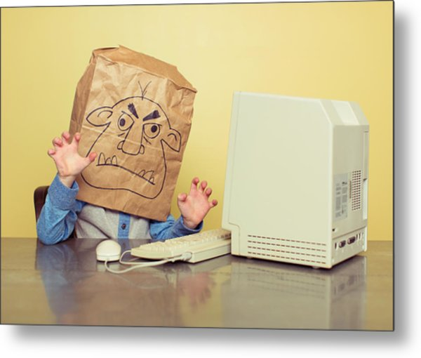 Internet Troll Is Mean At The Computer Metal Print by RichVintage