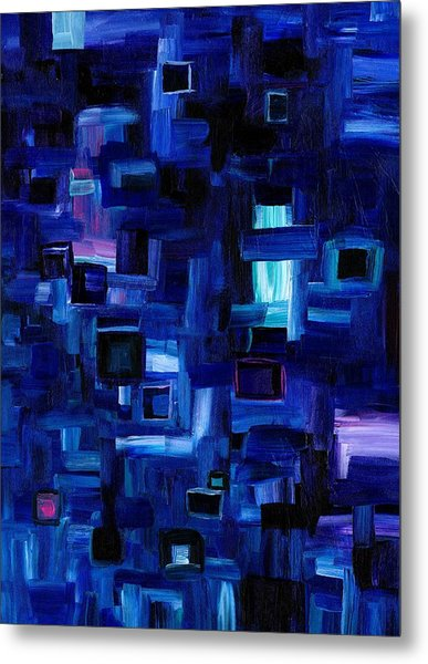 Interplay Blue Metal Print