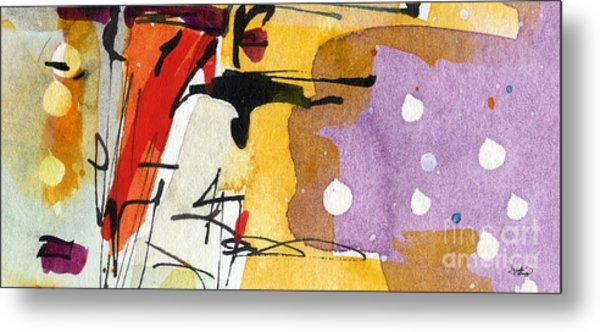 Intuitive Abstract Venice Watercolor And Ink Metal Print