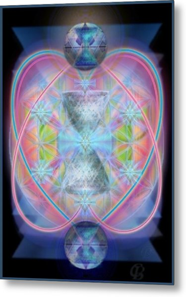 Intwined Hearts Chalice Gold Orb In Bright Synthesis Metal Print