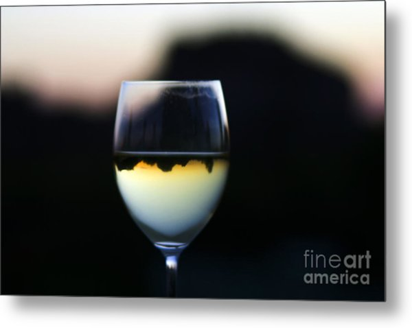 Inverted Landscape In Wine Glass Metal Print