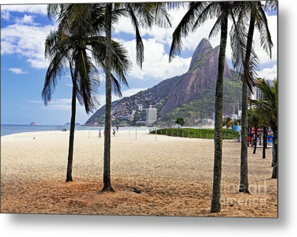 Ipanema Beach Palm Trees Metal Print by George Oze