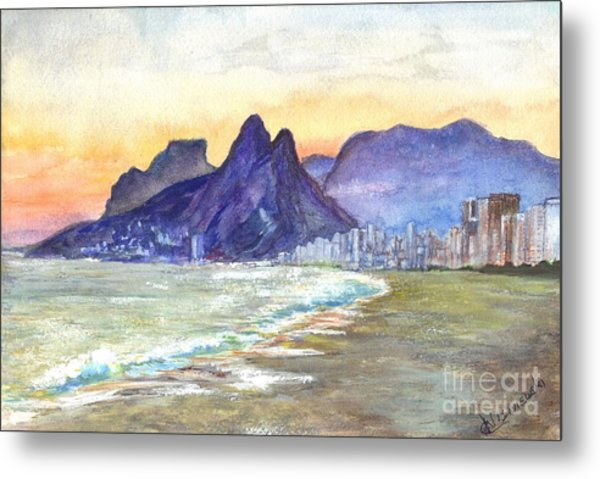 Sugarloaf Mountain And Ipanema Beach At Sunset Rio Dejaneiro  Brazil Metal Print