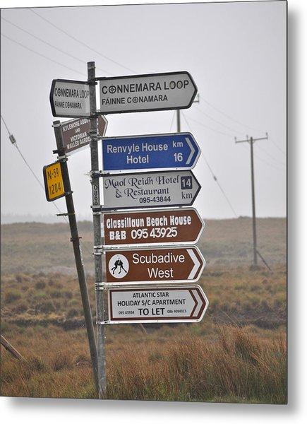 Ireland Road Sign 1 Metal Print