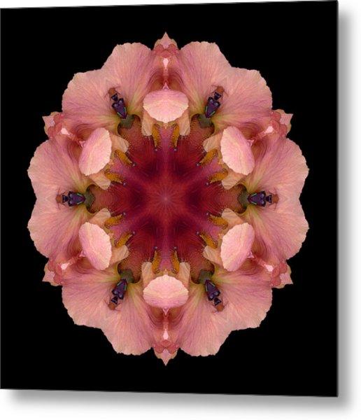 Iris Germanica Flower Mandala Metal Print