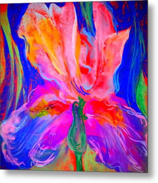 Funky Iris Flower Metal Print