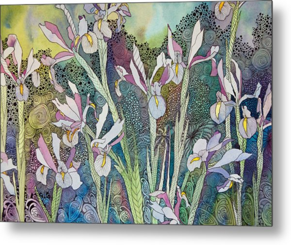Irises And Doodles Metal Print