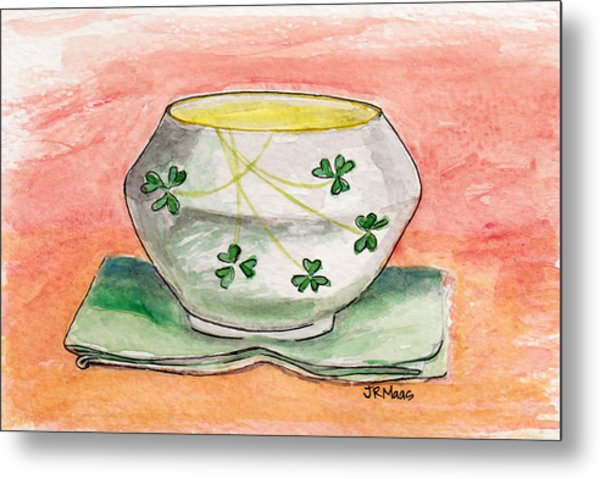 Irish Belleek And Linen Metal Print