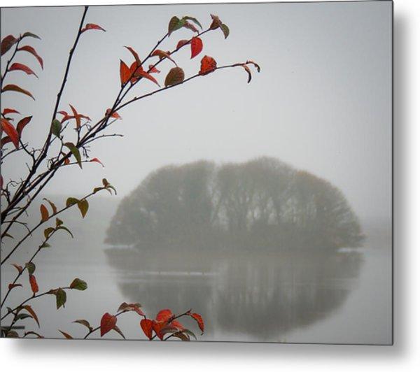 Irish Crannog In The Mist Metal Print