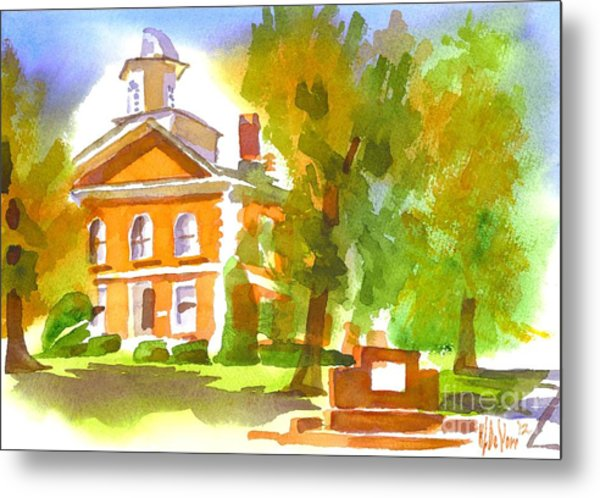 Iron County Courthouse In Watercolor Metal Print
